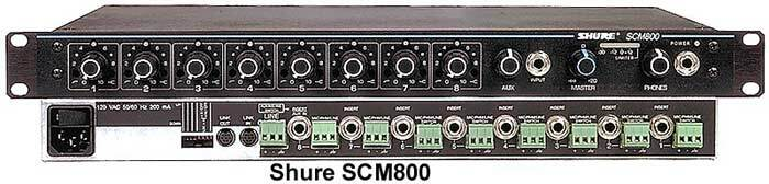 Details of Shure SCM800 Eight Channel Microphone Mixer