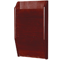 Details of H. Wilson WMLW4: 4 Pocket Wide Wall-Mounted Wood Literature Display (Mahogany)