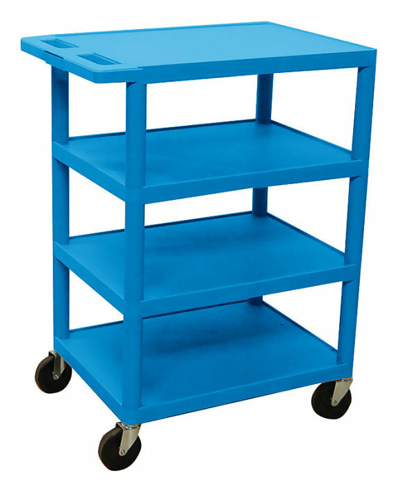 Details of Luxor BC45-BU 4 Shelf Banquet Cart-Blue