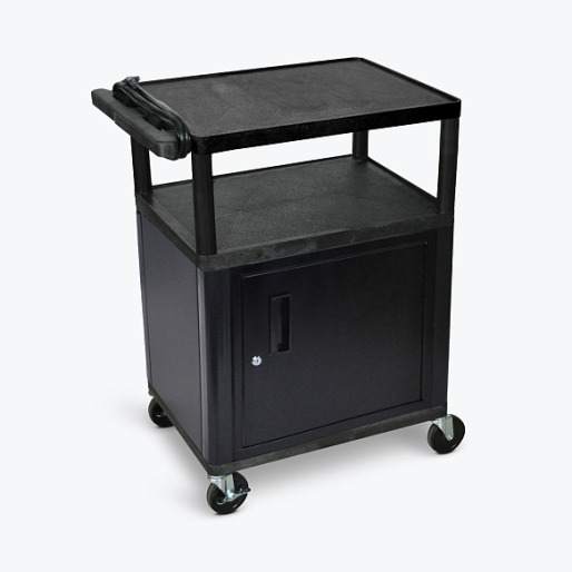 "Details of Luxor 34"" LP Cart with Cabinet and Electric -Black"