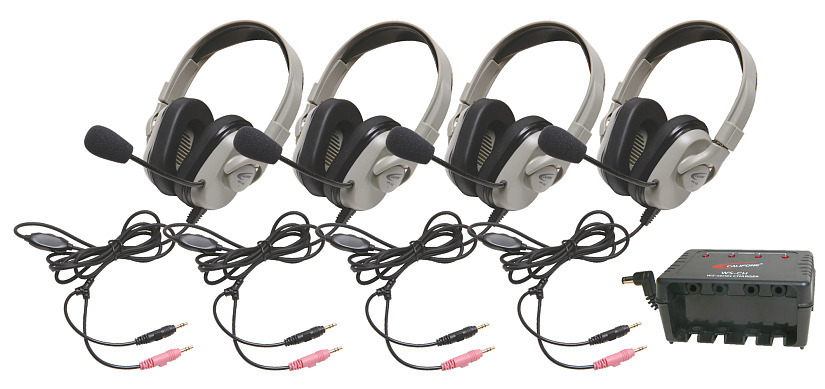 Details of Califone HPK-1034 Four HPK-1034 Titanium Series Headsets with Microphone and System Charger