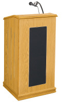 Oklahoma Sound 711 Prestige Floor Lectern w/ Sound - Light Oak  711-OK image