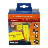 "Brother DK-2606 Black on Yellow Film Tape, 2.44"" width image"