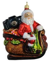 Santa with Camera in Sleigh - Hand Crafted Glass Ornament image