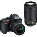 Nikon D3500 DX-Format Two Lens Outfit 18-55 and 70-300 AF-P DX Lens - Black