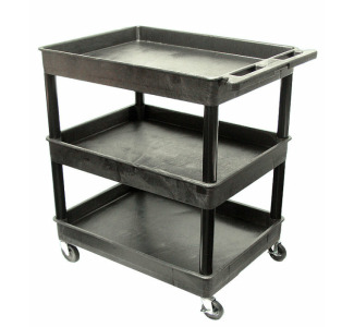 Black 3 Tub Cart   32 In W x 24 In D x 38 In H