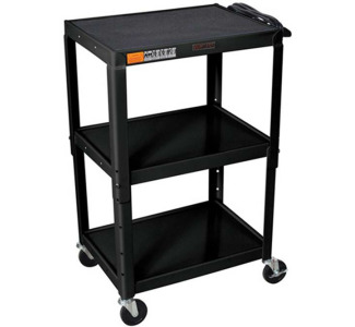 "Wilson Adjustable Metal Cart 26 - 42"" with Electric-Black"