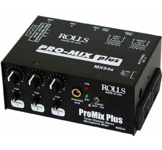Rolls MX54s ProMix Plus 3-Channel Stereo Mic Mixer