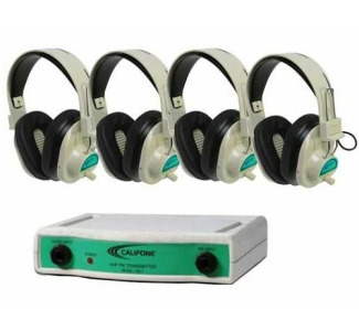 Califone CLS729-4 Wireless Headphone Sys w/4 Headphones Frequency 72.900 MHz (Green)