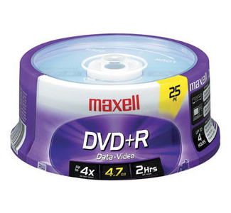 Maxell MXL-DVD+R/25 Recordable DVD Spindle - 25 discs