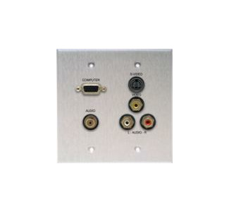 Comprehensive WP-2040-E-P-AB Black Double Gang Wall Plate