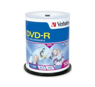 Verbatim 95102 4.7GB 16x DVD-R 100 Pack Spindle
