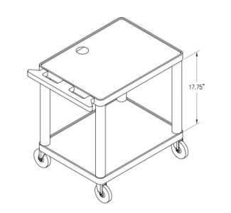 "Da-Lite PL2-42 42"" Pixmate Plastic Cart with 18"" x 24"" Shelf"