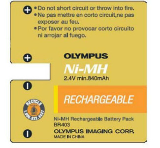 Olympus BR-403 Rechargeable Ni-MH Battery Pack (2.4V 840mAh) for DS-2300, DS-3300, DS-4000 Digital Voice Recorders