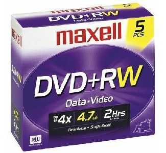 Maxell MXL-DVD+RW/5 DVD+RW 5 Pack with Jewel Case