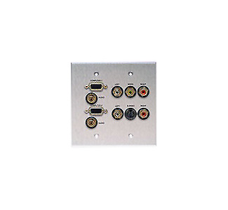 Comprehensive WP-2060-E-P-AB Double Gang Wallplate-ANODIZED BLACK -VGA(2)/2St. Mini/S-Video/5RCA-Passthru