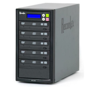 Recordex TechDisc Pro DVD500H DVD/CD 1 to 5 Duplicator Tower (20x/48x) with 250GB Hard Drive