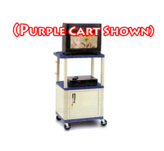 "H. Wilson WT42CE 42"" Tuffy Cabinet Cart with 3 Electric Outlets & Black Legs (Specify Color)"
