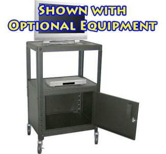"H. Wilson WKD42ACE 42"" Adjustable Metal Knockdown Utility Cart With Locking Cabinet"