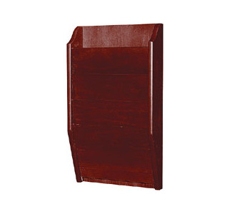 H. Wilson WMLW4: 4 Pocket Wide Wall-Mounted Wood Literature Display (Mahogany)