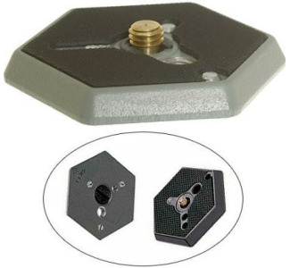 "Bogen / Manfrotto 130-14 Hexagonal Quick Release Plate (Flat Bottomed) with 1/4""-20 Screw"