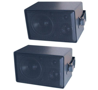 Speco DMS3P 50W Weatherproof 3 Way Speakers, Black, Pair