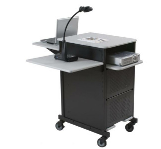 Balt Xtra-Wide Presentation Cart with shelf  and locking cabinet