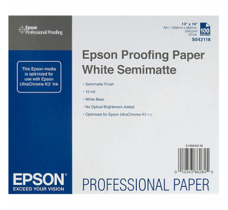"Epson Commercial Proofing Paper, White Semimatte for Inkjet- 13x19"" - 100 Sheets"