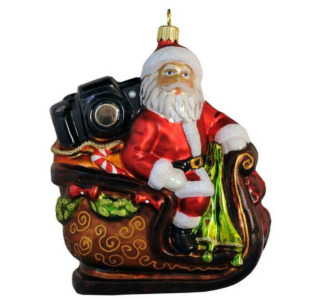 Santa with Camera in Sleigh - Hand Crafted Glass Ornament