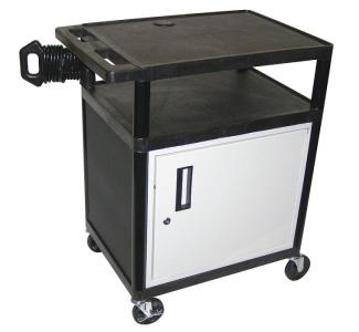 Luxor Endura 34 3 Shelf Audio Visual Cart With Locking Cabinet Camcor