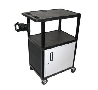 Luxor Endura 40 3 Shelf Audio Visual Cart With Locking Cabinet Camcor