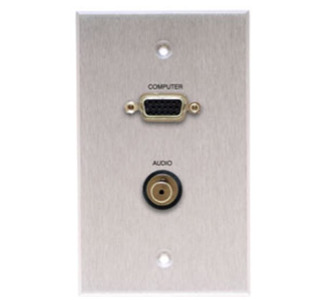 Comprehensive Single Gang Wallplate-Anodized Clear-HD15, Stereo Mini -passthru