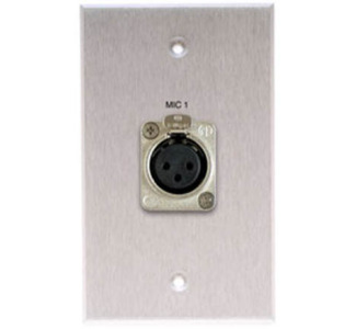 Comprehensive Single Gang Wallplate-Anodized Clear-Latching XLR Female Connector