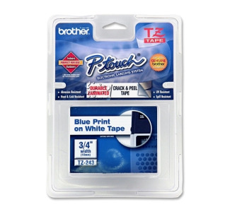 Brother TZE243 Blue on White Lettering Label Tape .75
