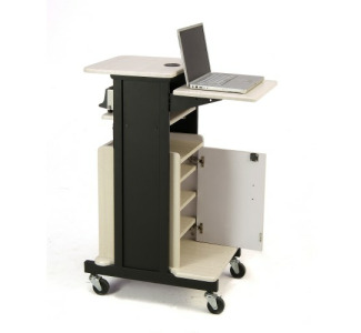 Oklahoma Sound PRC250 Premium Plus Presentation Cart with Storage Cabinet (Ivory Woodgrain/Black)