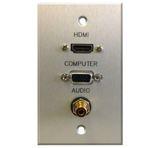 Comprehensive WP-1793-E-P-SB Single Gang Wall Plate HDMI Female, VGA Female, 3.5mm Stereo Mini Female PassThru