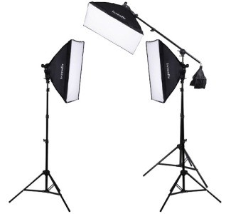 Interfit F5 Fluorescent 3-Light Kit with Boom Arm