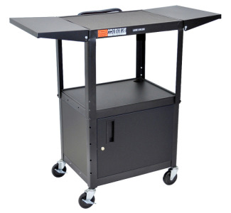 "Luxor AVJ42CDL 42"" Cabinet Cart with Adjustable Height and Drop Leaf Shelves"