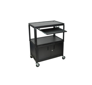"24 - 42"" Adjustable Height Extra Large Steel AV Cart with Keyboard Shelf and Cabinet"