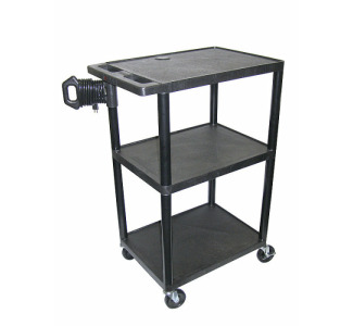 "Luxor 42"" 3 Shelf audio Visual Cart With Electric - LE42"