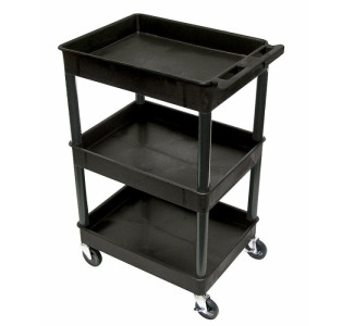 3-Shelf Tub Utility Cart 18x24 - Black