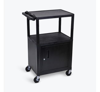 "Luxor LE42C-B ENDURA 42"" 3-Shelf Audio Visual Cart with Locking Cabinet"