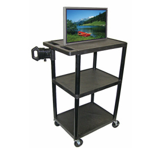 "Luxor LE48-B ENDURA 48"" 3-Shelf Audio Visual Cart"