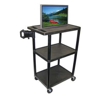 "Luxor LE54-B ENDURA 54"" 3-Shelf Audio Visual Cart"