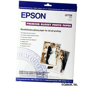 Epson 8x10 Glossy Premium Photo Paper 20-Sheets