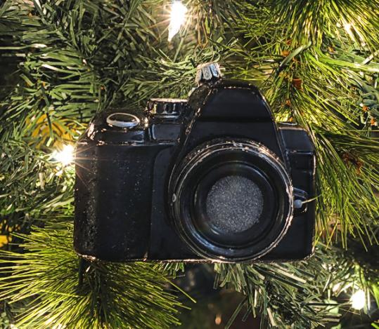 SLR Camera with Lens - Hand Crafted Glass Ornament