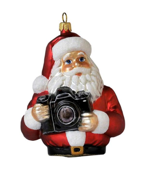 Photographer Santa Holding Camera - Blown Glass Christmas Ornament