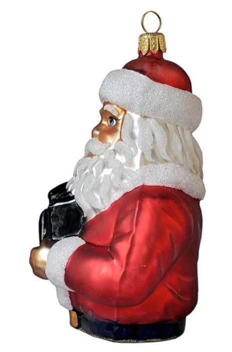 Photographer Santa Holding Camera  Blown Glass Christmas Ornament