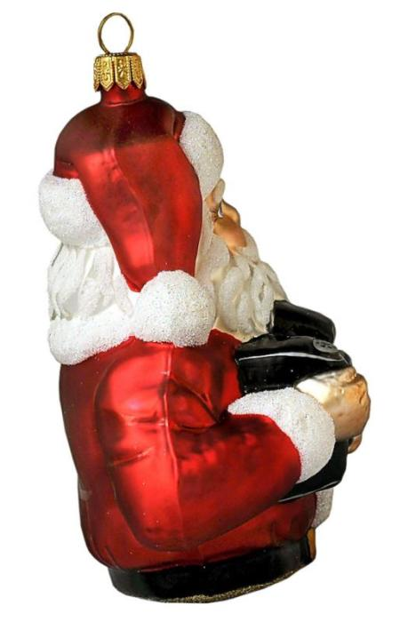 Handcrafted Glass Santa - side view