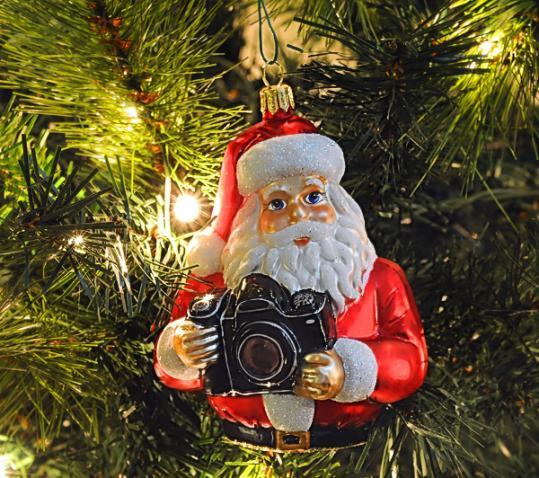 Photographer Santa Holding Camera - Blown Glass Christmas Ornament